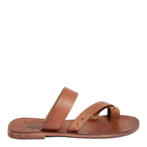 Antica Calzoleria Brown Vintage Effect Leather Twist Strap Toe Thong Sandal