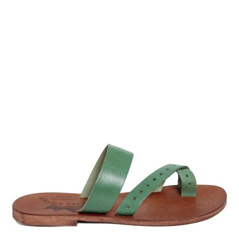 Antica Calzoleria Green Vintage Effect Leather Twist Strap Toe Thong Sandal