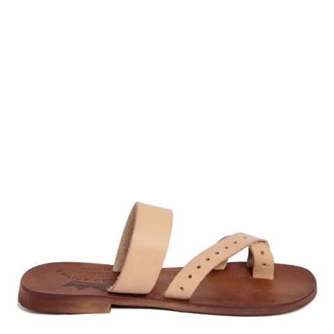 Antica Calzoleria Nude Vintage Effect Leather Twist Strap Toe Thong Sandal