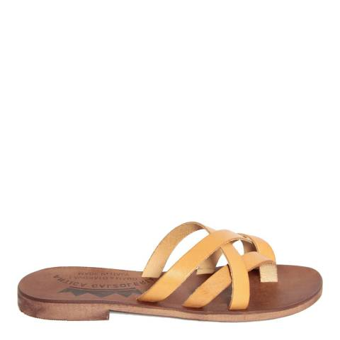 Antica Calzoleria Yellow Leather Cross Strap Slide