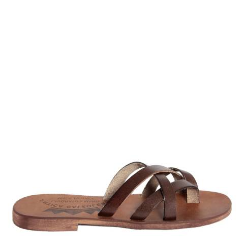 Antica Calzoleria Dark Brown Leather Cross Strap Slide