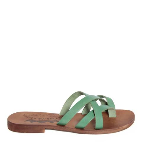 Antica Calzoleria Green Leather Cross Strap Slide