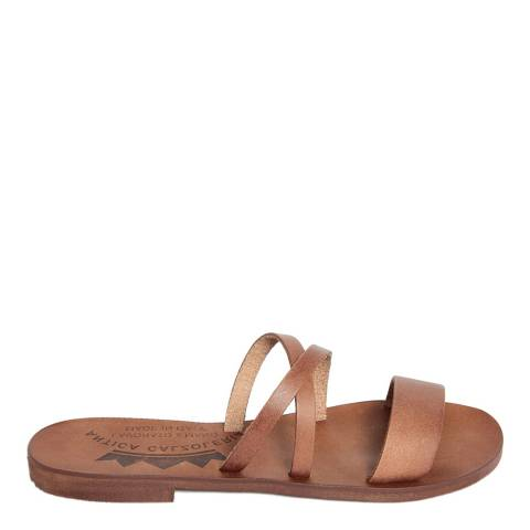 Antica Calzoleria Brown Leather Slip On Triple Strap Sandal