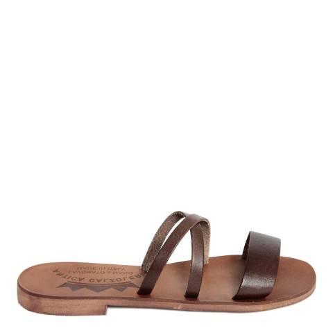 Antica Calzoleria Dark Brown Leather Slip On Triple Strap Sandal