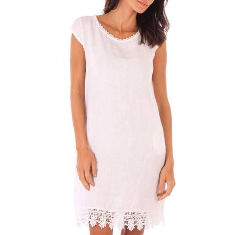 Toutes belles en LIN White Linen Lace Trim Dress