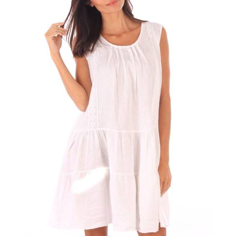 Toutes belles en LIN White Linen Sleeveless Gypsy Dress