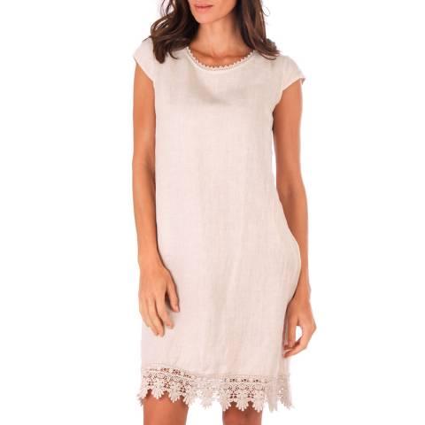 LE MONDE DU LIN Beige Lace Trim Linen Dress