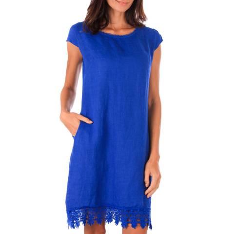 Toutes belles en LIN Royal Blue Linen Lace Trim Dress