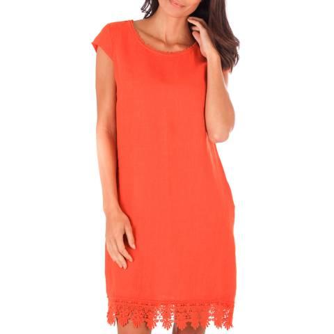 Toutes belles en LIN Orange Linen Lace Trim Dress