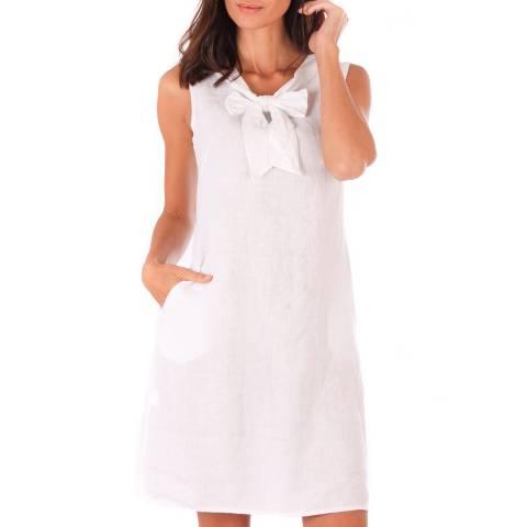 Toutes belles en LIN White Linen Bow Dress