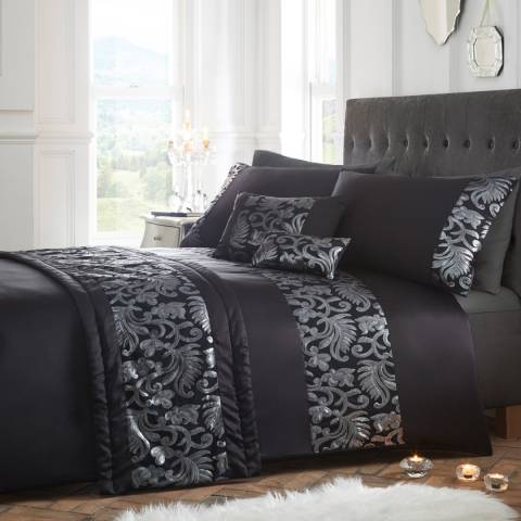 Portfolio Grace Double Duvet Cover Set, Black