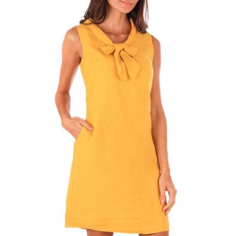 Toutes belles en LIN Pale Orange Linen Bow Dress