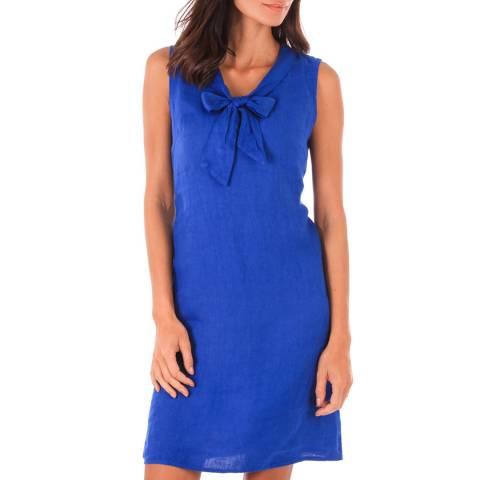 Toutes belles en LIN Royal Blue Linen Bow Dress