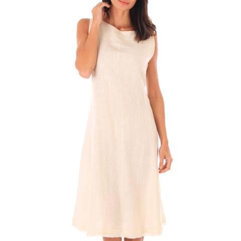 Toutes belles en LIN Beige Sleeveless Midi Dress