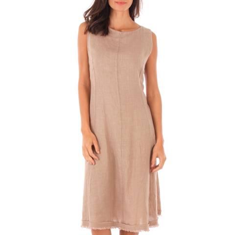 Toutes belles en LIN Taupe Sleeveless Midi Dress