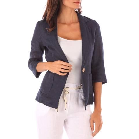Toutes belles en LIN Navy Linen Jacket