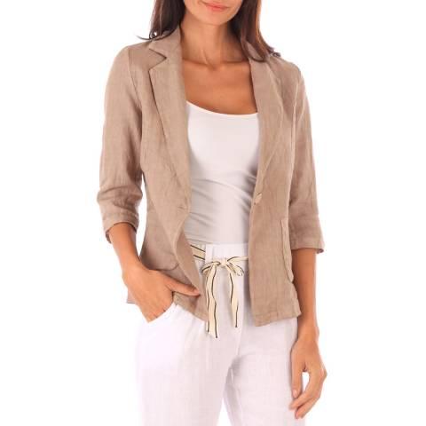 Toutes belles en LIN Taupe Linen Jacket