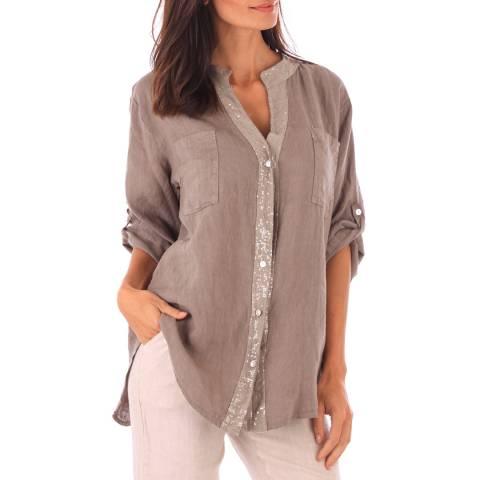 Toutes belles en LIN Taupe Linen Relaxed Fit Shirt