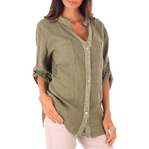 Toutes belles en LIN Khaki Linen Relaxed Fit Shirt