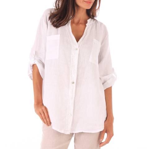Toutes belles en LIN White Linen Relaxed Fit Shirt