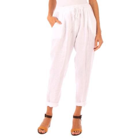 Toutes belles en LIN White Linen Harem Pants