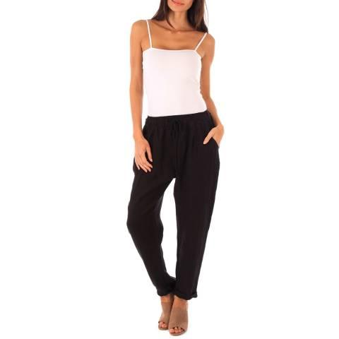 Toutes belles en LIN Black Linen Harem Pants