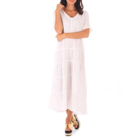 Toutes belles en LIN White Linen Relaxed Fit Long Dress