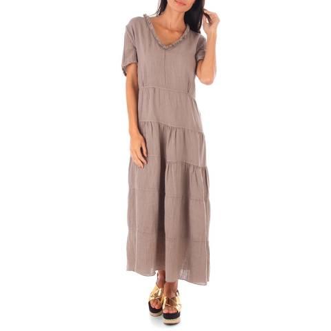 Toutes belles en LIN Taupe Linen Relaxed Fit Long Dress