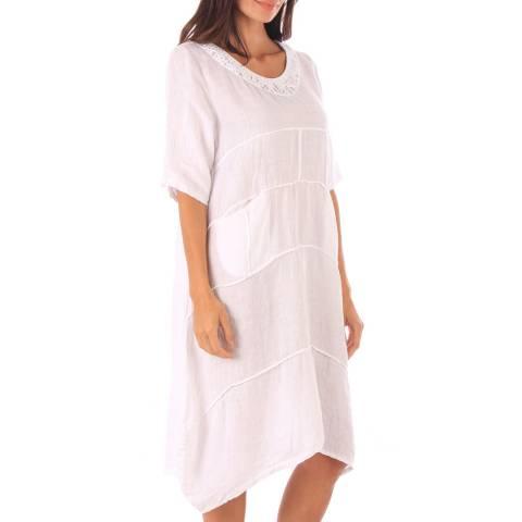 Toutes belles en LIN White Linen Relaxed Fit Dress
