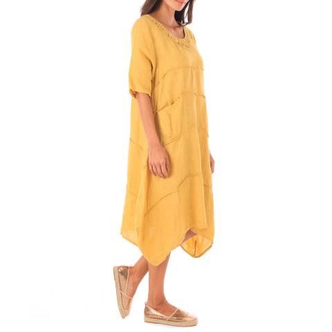 Toutes belles en LIN Pale Orange Linen Relaxed Fit Dress
