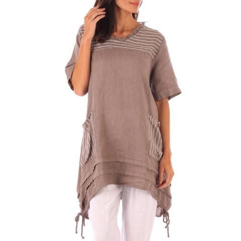 Toutes belles en LIN Taupe Linen Stripe Pattern Tunic