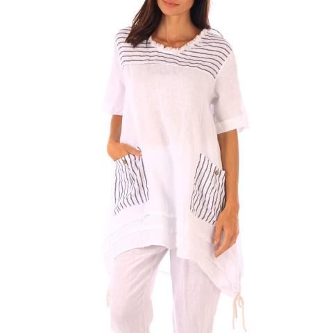 Toutes belles en LIN White Linen Stripe Pattern Tunic