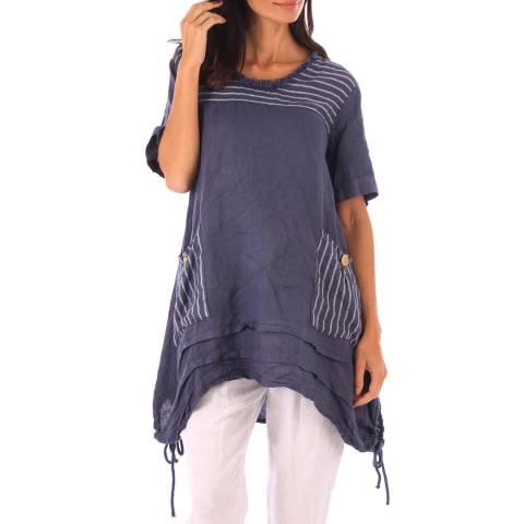Toutes belles en LIN Indigo Linen Stripe Pattern Tunic