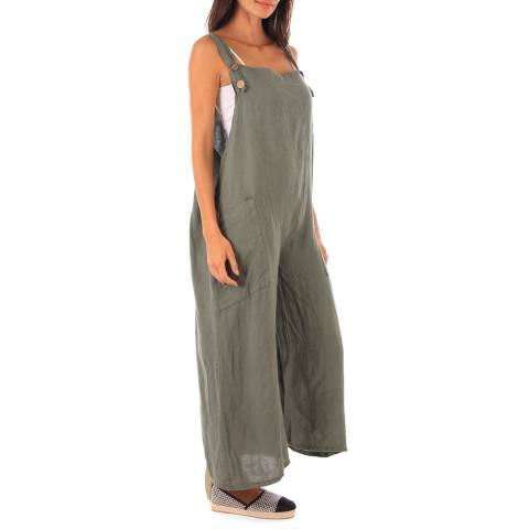 Toutes belles en LIN Khaki Linen Wide Leg Jumpsuit