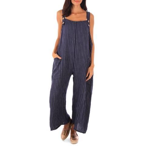 Toutes belles en LIN Navy Linen Stripe Wide Leg Jumpsuit