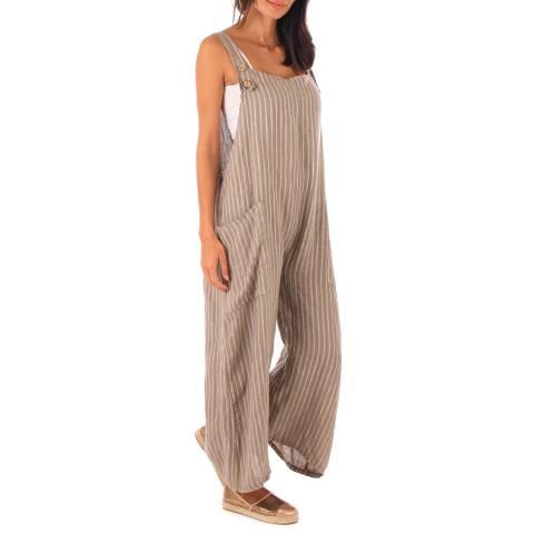 Toutes belles en LIN Taupe Linen Stripe Wide Leg Jumpsuit