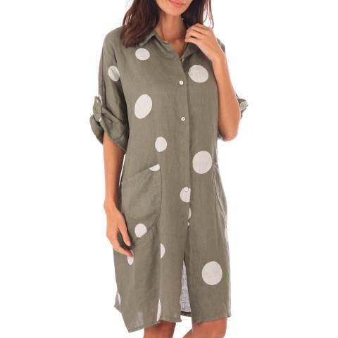 Toutes belles en LIN Khaki Linen Spot Shirt Dress