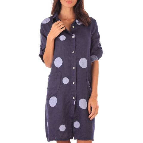 Toutes belles en LIN Navy Linen Spot Shirt Dress