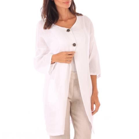 Toutes belles en LIN White Linen Button Front Jacket