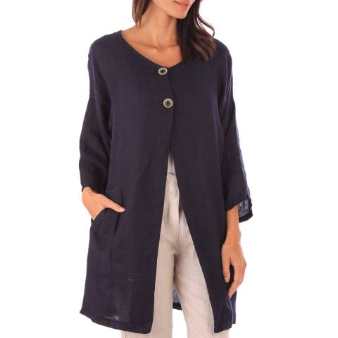 Toutes belles en LIN Navy Linen Button Front Jacket