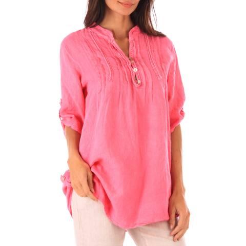 Toutes belles en LIN Pink Linen Relaxed Shirt