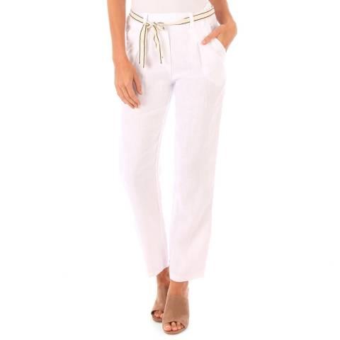 Toutes belles en LIN White Linen Pencil Trousers