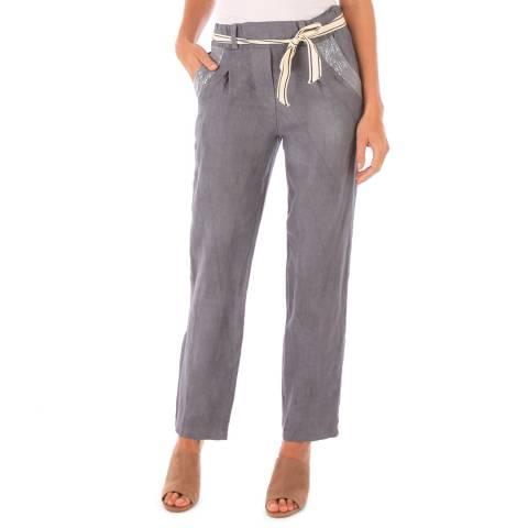 Toutes belles en LIN Grey Linen Pencil Trousers