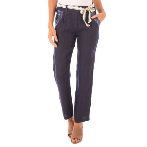 LE MONDE DU LIN Navy Belt Linen Pencil Trousers