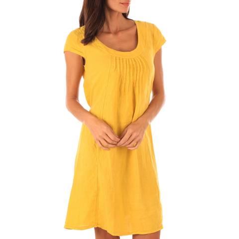 Toutes belles en LIN Pale Orange Linen Mid Length Dress