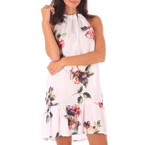 Toutes belles en LIN White Linen Floral Print Midi Dress