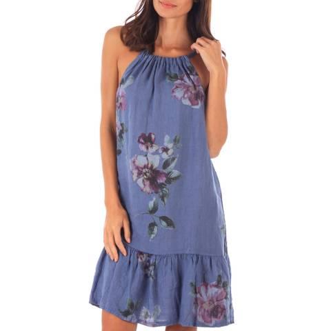 Toutes belles en LIN Indigo Linen Floral Print Midi Dress