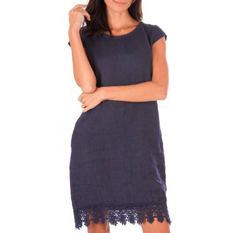 Toutes belles en LIN Navy Linen Mid length Dress