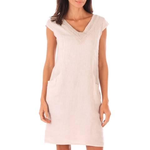 Toutes belles en LIN Beige Linen Mid Length Dress