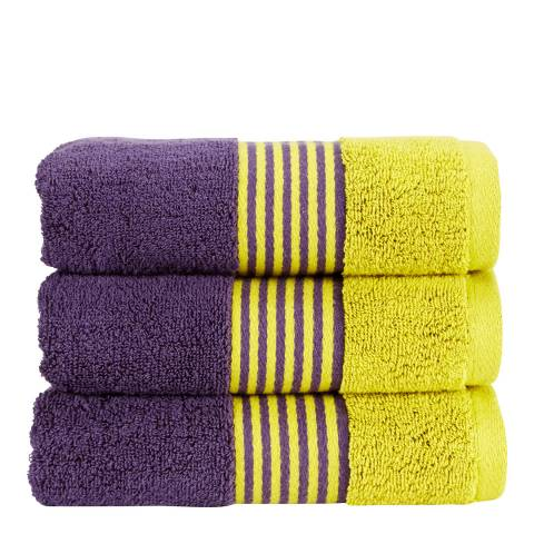Kingsley by Christy Duo Hand Towel, Damson/Chartreuse